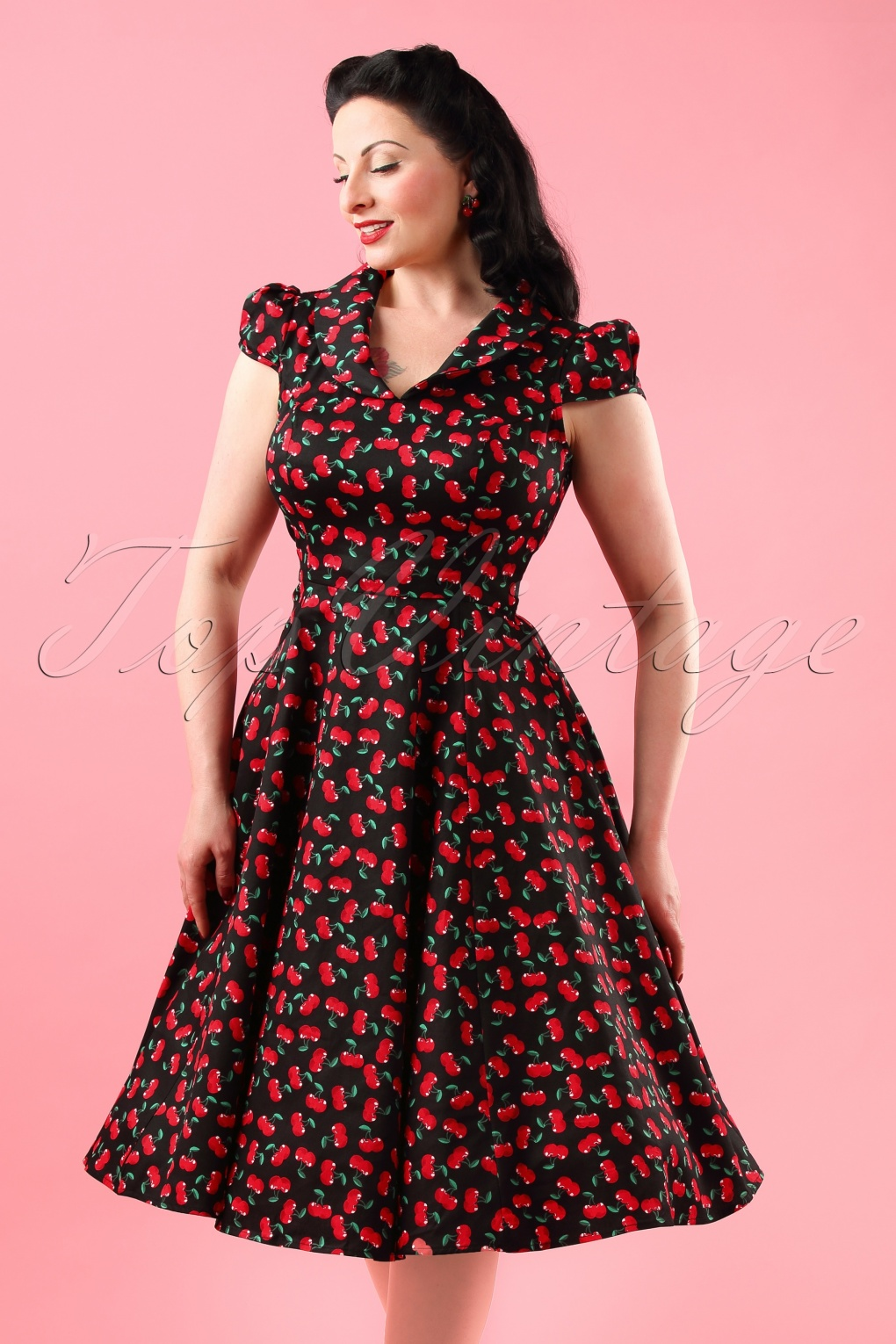 1950s Swing Dresses 50s Blossom Cherry Swing Dress in Black £47.73 AT vintagedancer.com