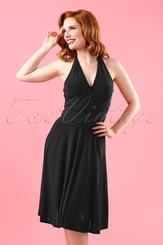 50s Valencia Halter Dress in Black