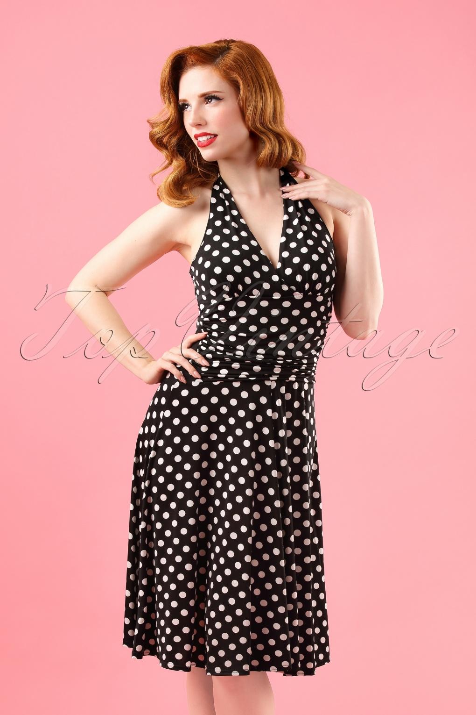 50s valencia polkadot halter dress in black - Vintage valencia ...