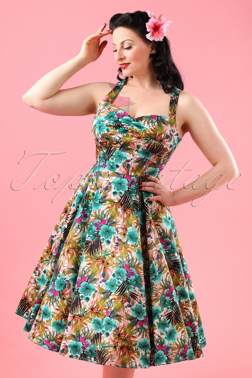 50s Daisy Lilly Floral Swing Dress in Turquoise