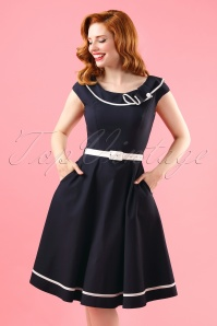 50s Nora Sailor Swing Dress in Navy