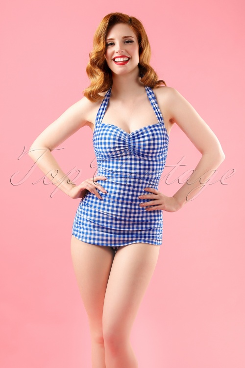 Esther Williams Classic Fifties Bathing Suit Blue 12103 model01W