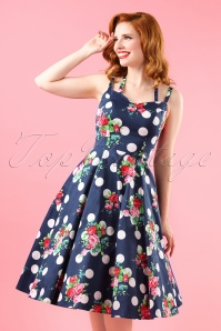 50s Dotty Polka Roses Swing Dress in Navy
