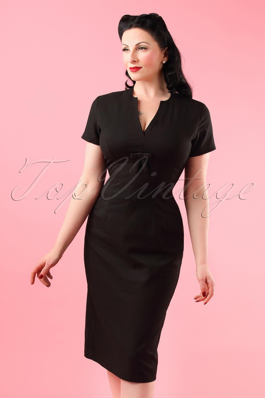 50s Greta Pencil Dress In Black