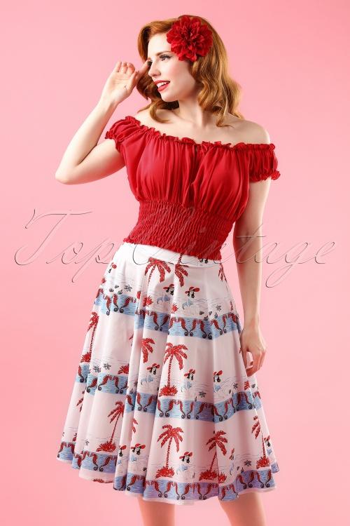 Bettie Page Clothing Sea Breeze Swing Skirt 122 59 17266 model01W
