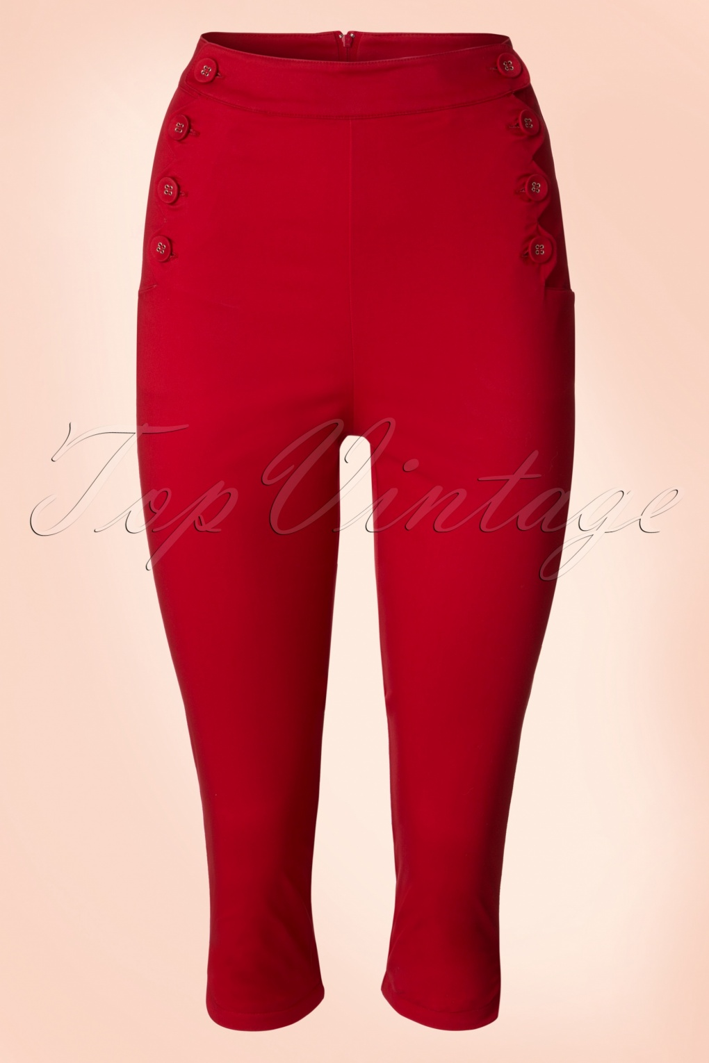50s Becky Capri Pants in Red