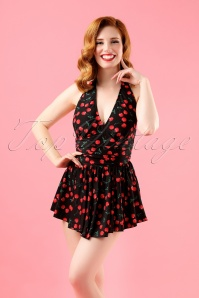 50s Marilyn Cherry Swimdress in Black