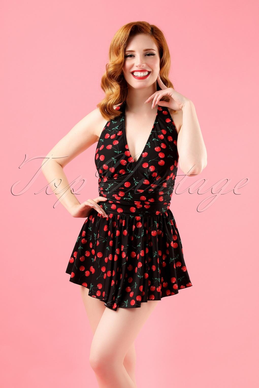 c131fdbb55c1 50s Marilyn Cherry Swimdress in Black