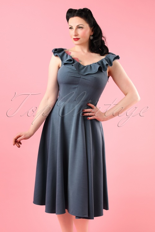 Miss Candyfloss TopVintage Exclusive Denim Swing Dress 102 30 18025 20160411 0012W