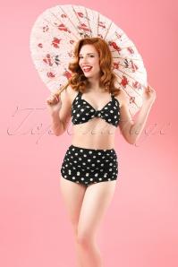50s Classic Polka Bikini in Black and White