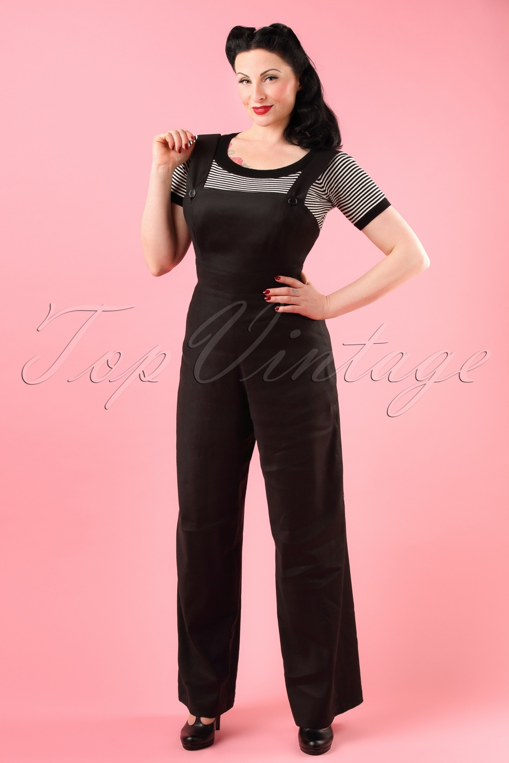 Vintage Overalls 1910s -1950s Pictures and History 40s Penny Dungaree in Black £73.79 AT vintagedancer.com