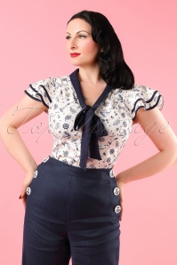 Vixen White and Blue Sailor Blouse 112 59 18589 model01W