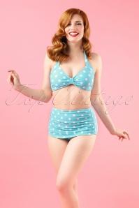 Classic Polka Bikini Années 50 en Aigue-marine et Blanc