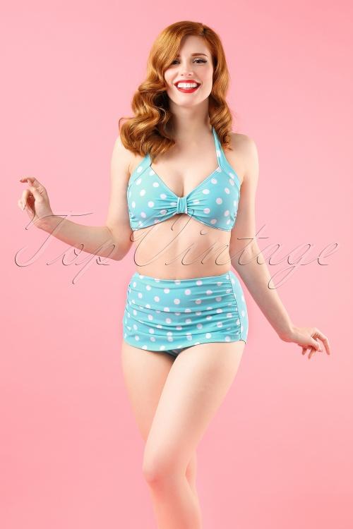 Esther Williams Polka Dots Bikini Pants Aqua 160 39 17572 17571 model01W