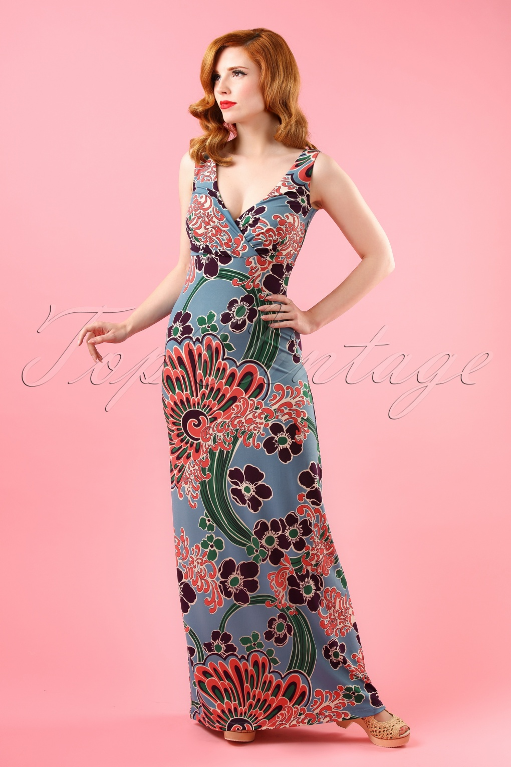 60s ginger freedom niagara maxi dress in blue. Black Bedroom Furniture Sets. Home Design Ideas