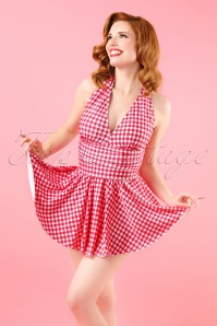 Topvintage Exclusive ~ 50s Marilyn Swimdress in Raspberry Red Gingham
