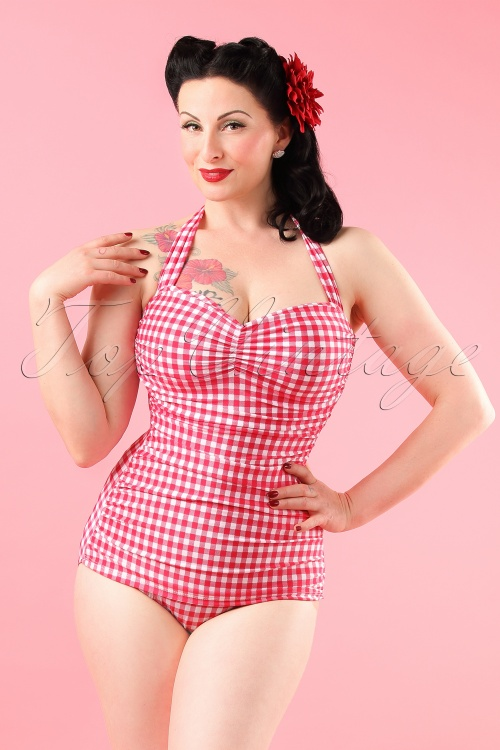 Esther Williams Classic Fifties Bathing Suit Raspberry Pink 10377 model01W