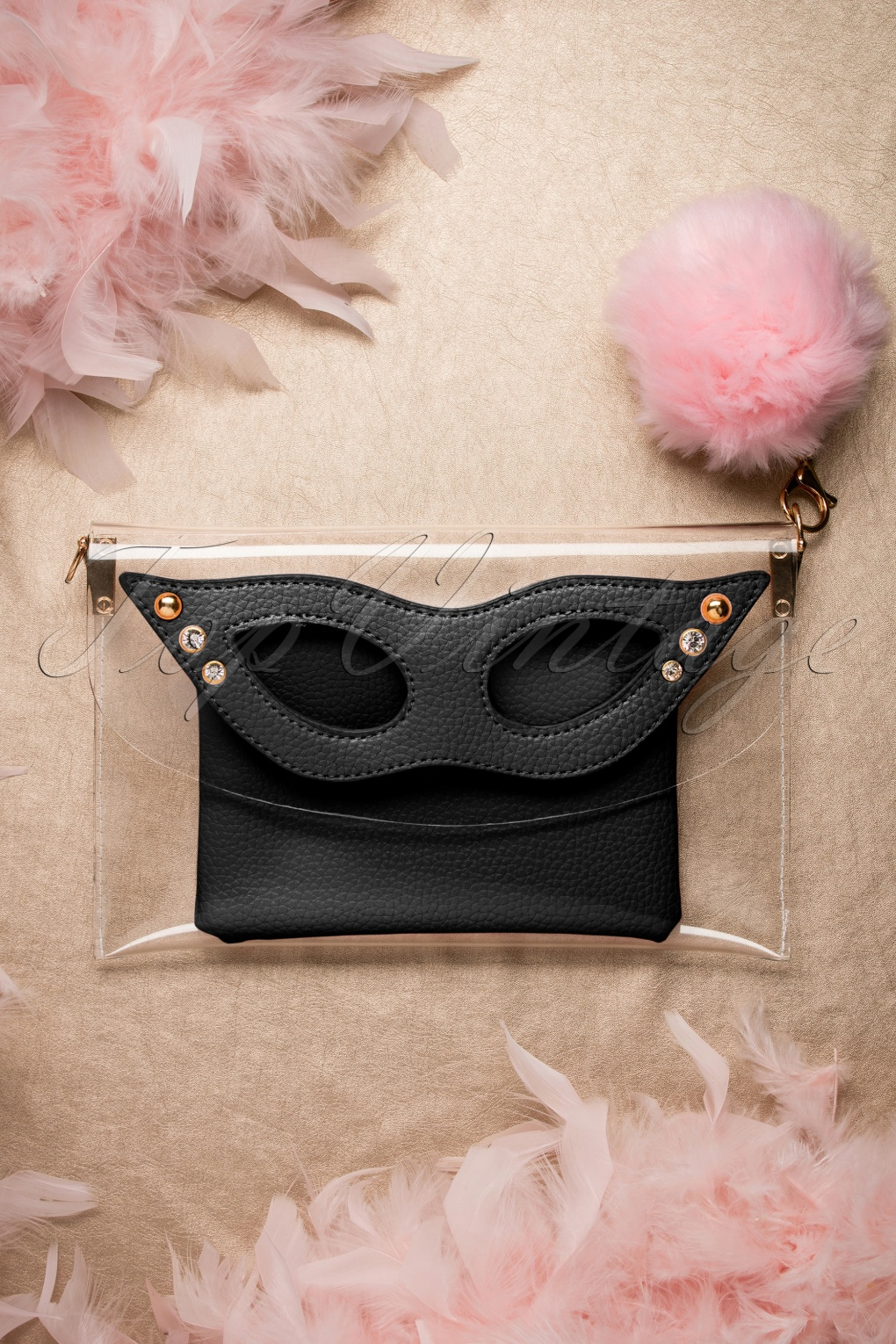 Retro Handbags, Purses, Wallets, Bags 50s Mansfield Masquerade Clutch in Black £76.39 AT vintagedancer.com