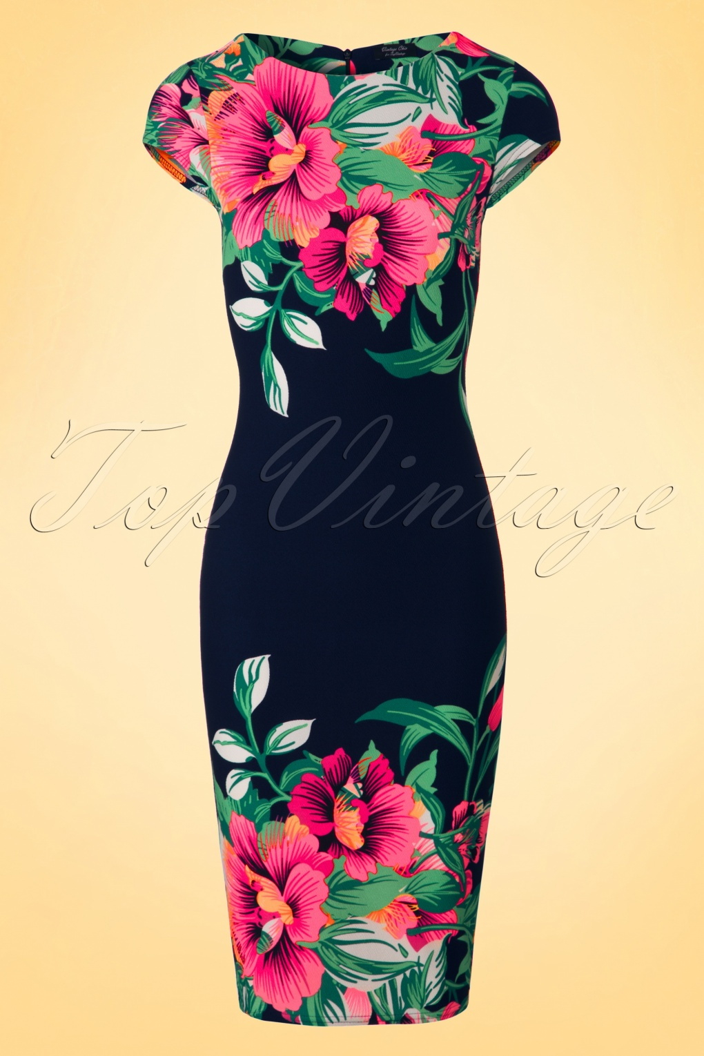 Wiggle Dresses | Pencil Dresses 60s Aloha Tropical Garden Short Sleeves Pencil Dress in Navy £25.57 AT vintagedancer.com
