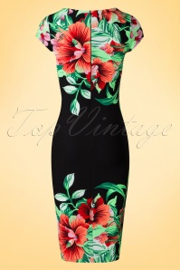 Vintage Chic Aloha Pencil Dress in Black 100 14 19256 20160606 0008W