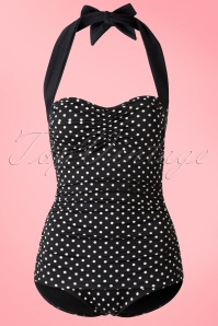 Bunny 50s Hannah Swimsuit Black White Polkadot 161 14 15365 20150608 006W