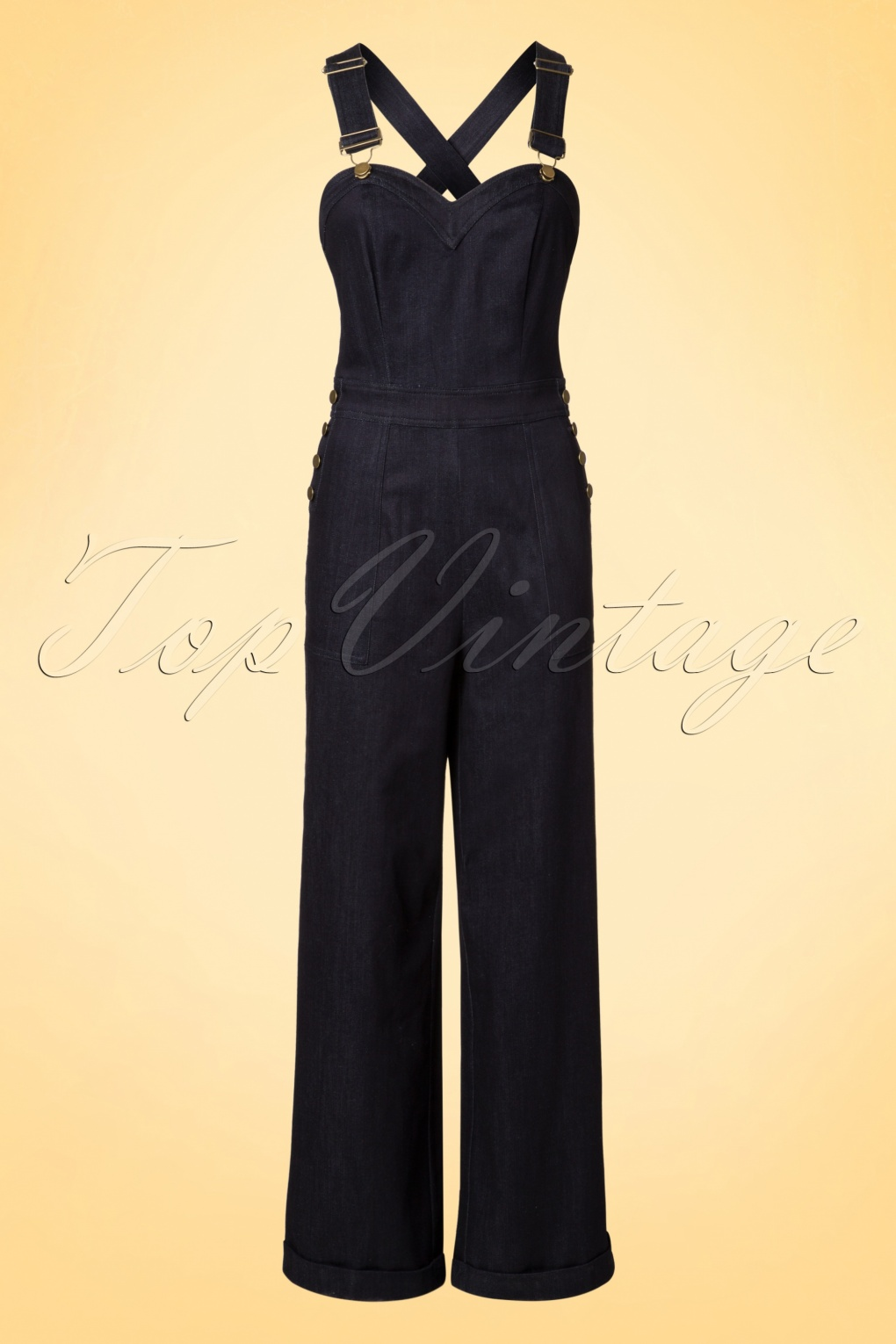 Vintage Overalls 1910s -1950s Pictures and History 40s Rosie Dungaree Jumpsuit in Denim £69.45 AT vintagedancer.com
