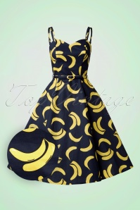 50s Simona Banana Swing Dress in Navy