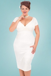 Lady Voluptuous by Lady Vintage 50s Ursula Satin Wedding Pencil Dress in Ivory