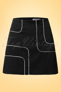60s Amy Piped Mini Skirt in Black and White