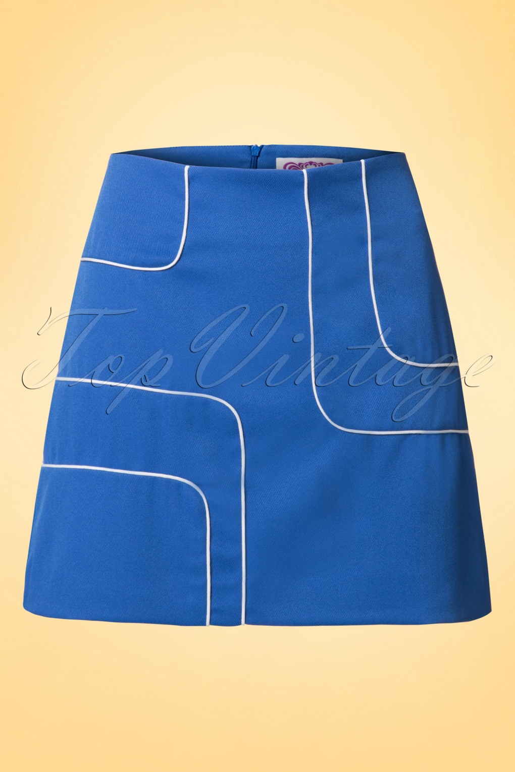 Retro Skirts: Vintage, Pencil, Circle, & Plus Sizes 60s Amy Piped Mini Skirt in Blue and White £23.87 AT vintagedancer.com