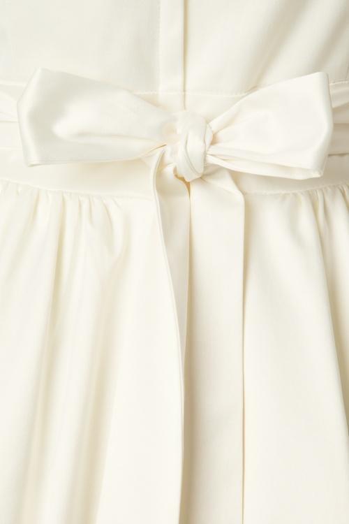 50s Lina Wedding Tea Dress in Ivory Satin