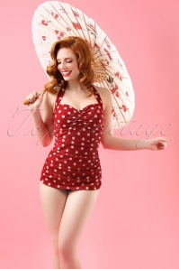 classic fifties one piece swimsuit polka Red White