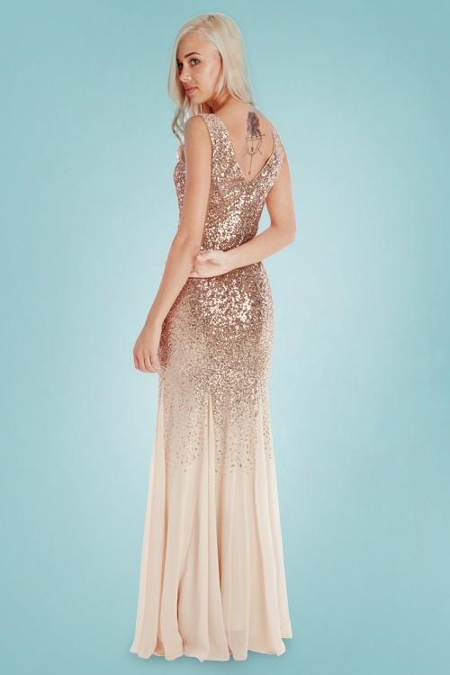 50s Mae Glitter Maxi Dress in Champagne