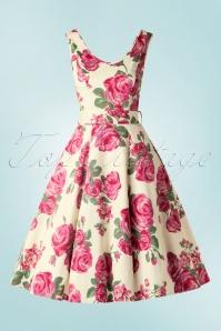 50s Charlotte Pink Rose Dress in Cream