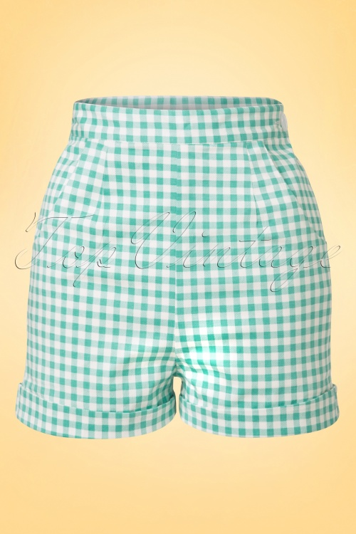 Collectif Cloting Ayana Gingham Shorts in Mint and White 17676 20151117 0005W