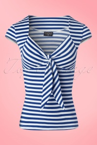 50s Tatiana Tie Top in Blue and White Stripes