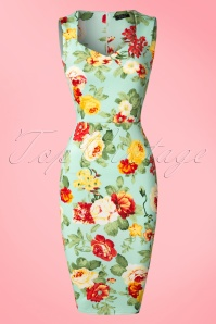 50s Veronica Floral Pencil Dress in Mint