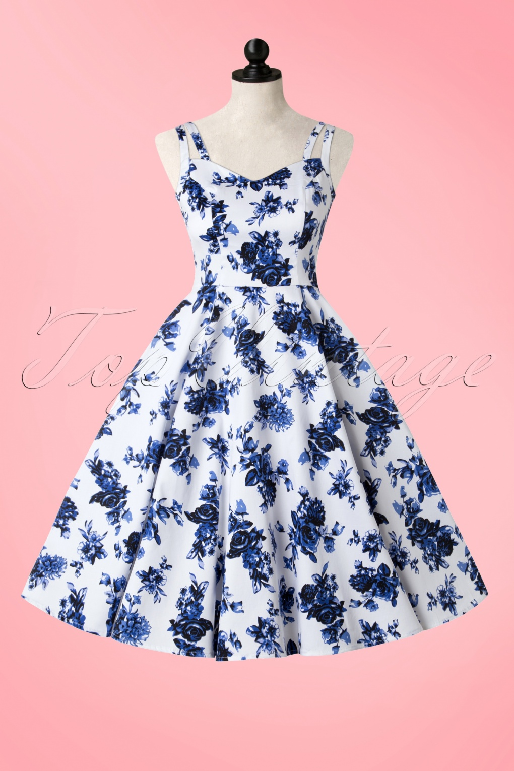 Hearts And Roses White Blue Floral Dress W Full