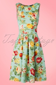 Vintage Chic Light Blue Flower Semi Swing Dress 102 39 18849 20160425 0004W