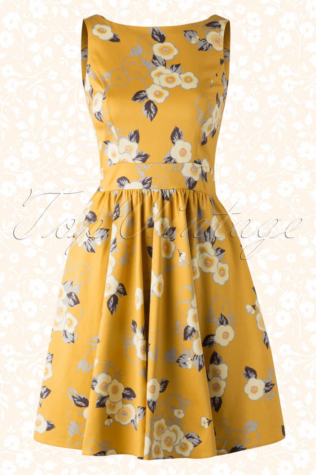 50s Floral Tea Dress In Yellow