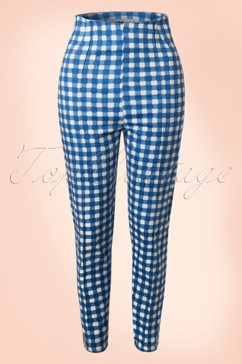 Collectif Cloting Bonnie Blue Painted Gingham Trousers 17704 20151117 0005W
