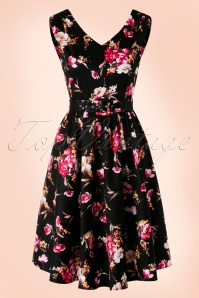 50s Petal Floral Swing Dress in Black