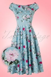 50s Belinda Floral Dress in Blue