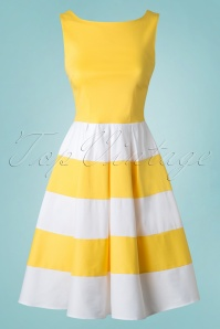 50s Anna Dress in Yellow and White