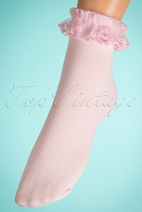 Lovely Legs 50s Cute Ruffle Lace Bobby Socks in Pink