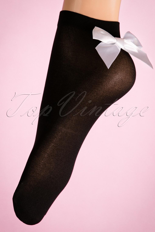 1950s Socks- Women's Bobby Socks 50s Peek A Bow Socks in Black £4.35 AT vintagedancer.com
