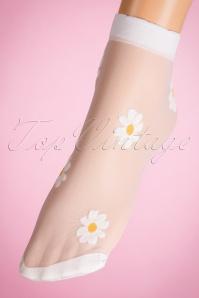 Sunny Daisy Socks Années 50 en Blanc