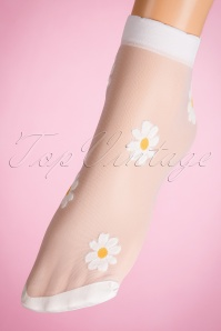 50s Sunny Daisy Socks in White