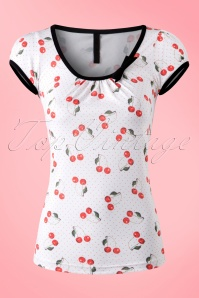 50s Leona Cherry Art Top in White and Red