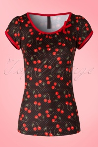 50s Leona Cherry Art Top in Black and Red